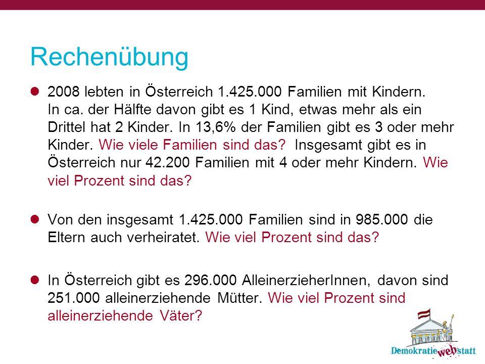 Rechenübung 2008 lebten in Österreich 1.425.000 Familien mit Kindern.