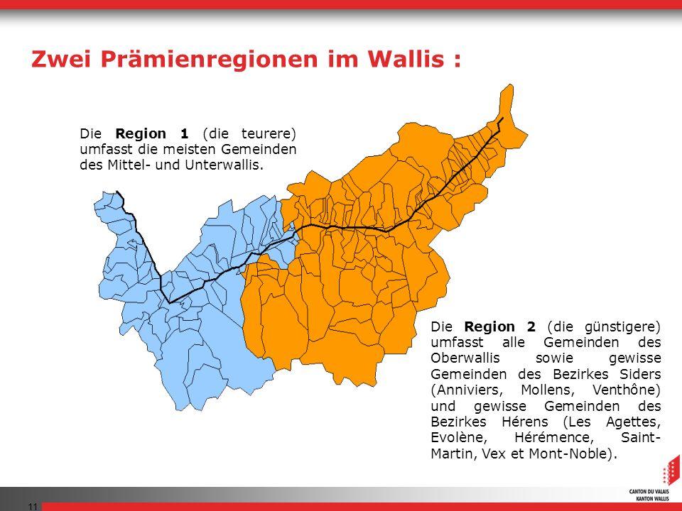 Zwei Prämienregionen im Wallis :