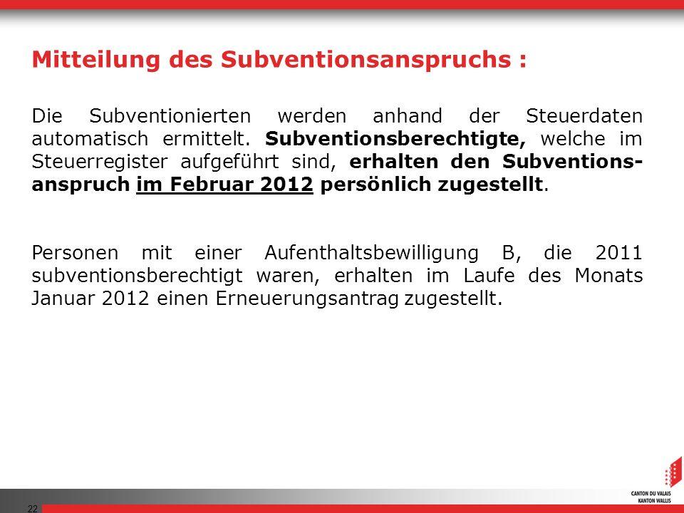 Mitteilung des Subventionsanspruchs :