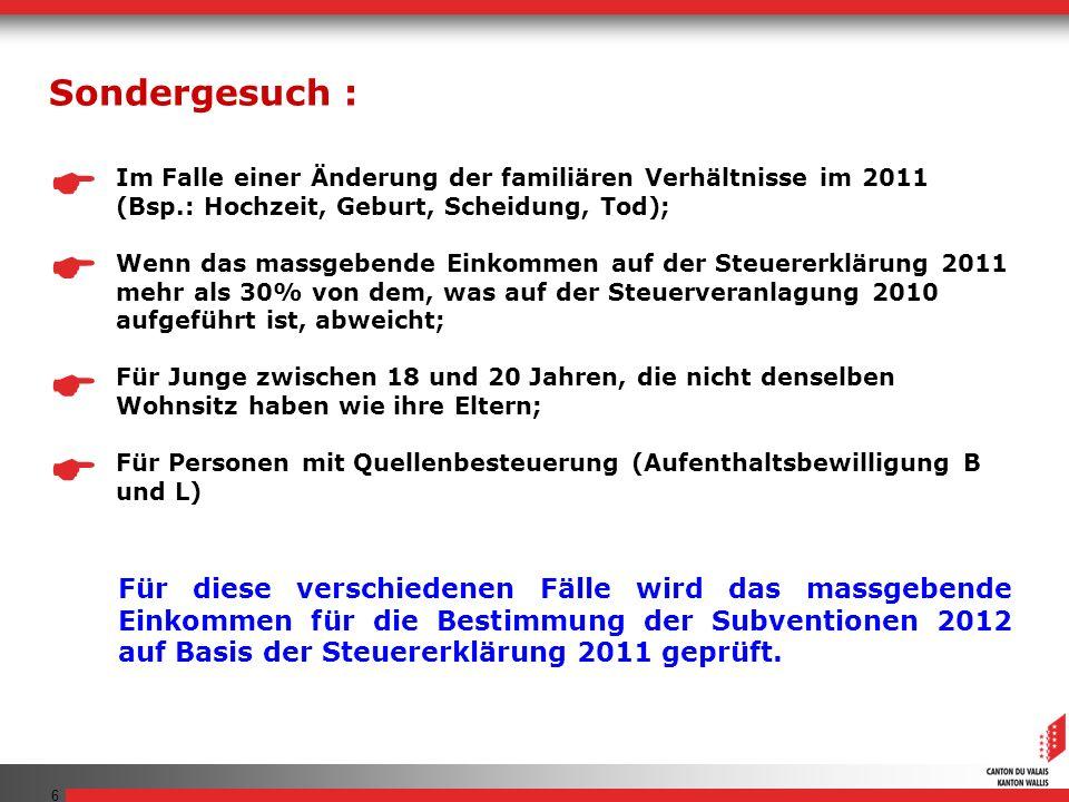 Sondergesuch :  Im Falle einer Änderung der familiären Verhältnisse im 2011 (Bsp.: Hochzeit, Geburt, Scheidung, Tod);