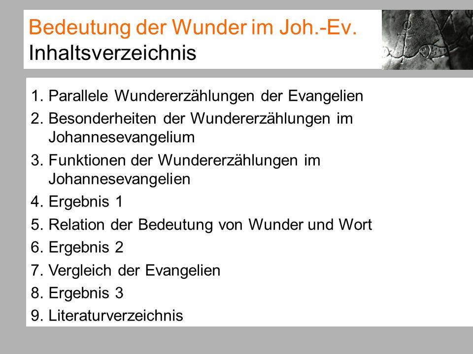 Bedeutung der Wunder im Joh.-Ev. Inhaltsverzeichnis