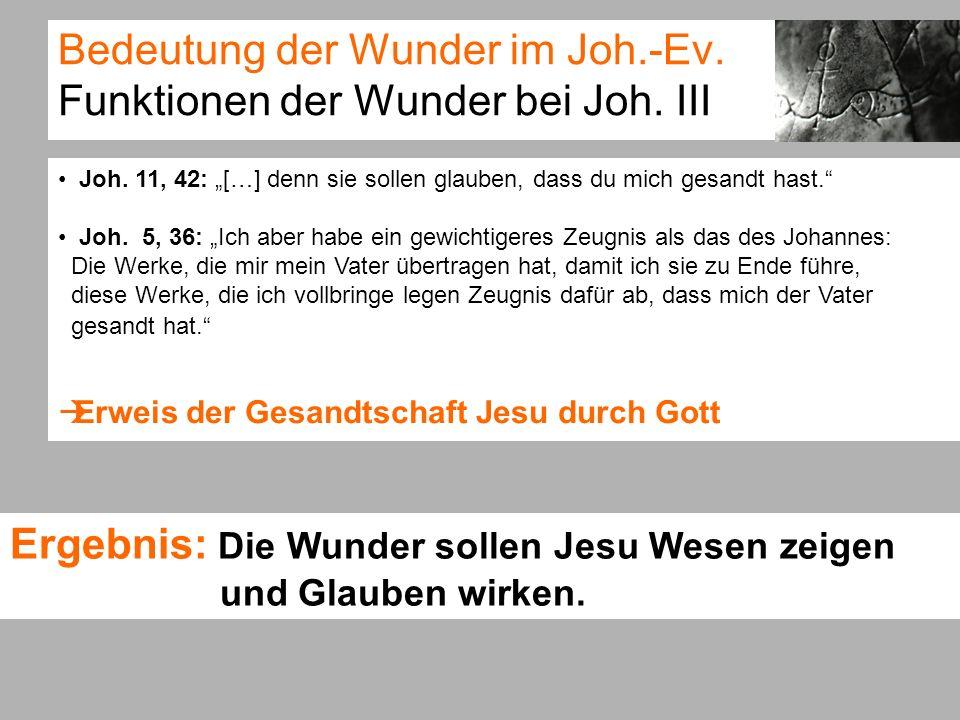 Bedeutung der Wunder im Joh.-Ev. Funktionen der Wunder bei Joh. III