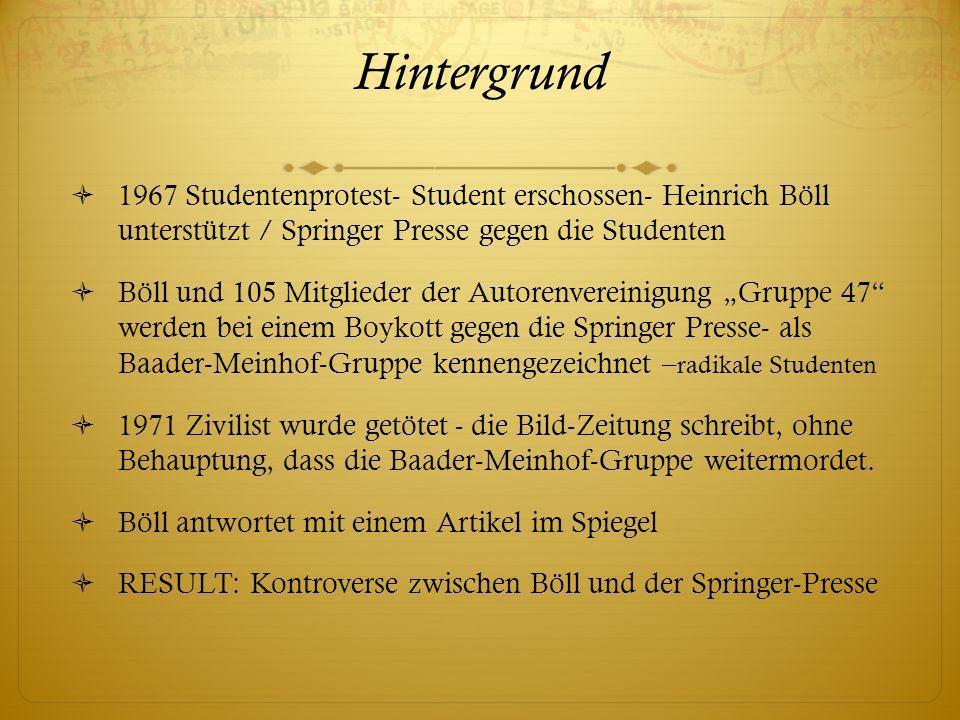 Hintergrund 1967 Studentenprotest- Student erschossen- Heinrich Böll unterstützt / Springer Presse gegen die Studenten.