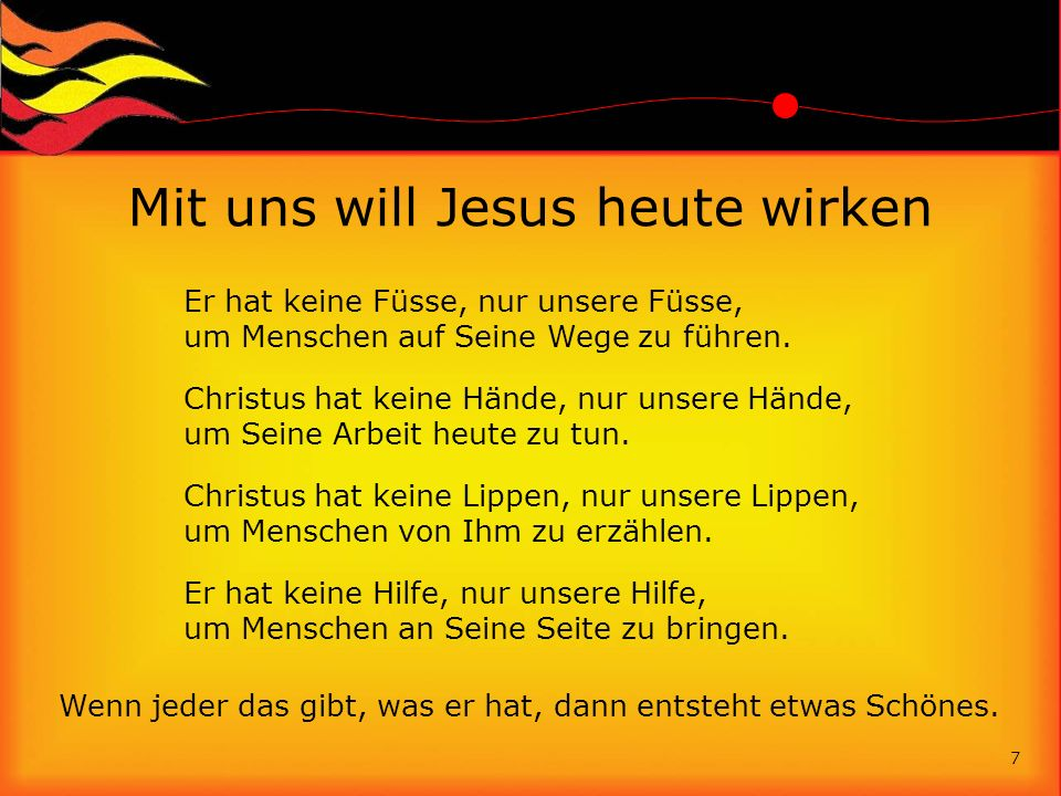Mit uns will Jesus heute wirken