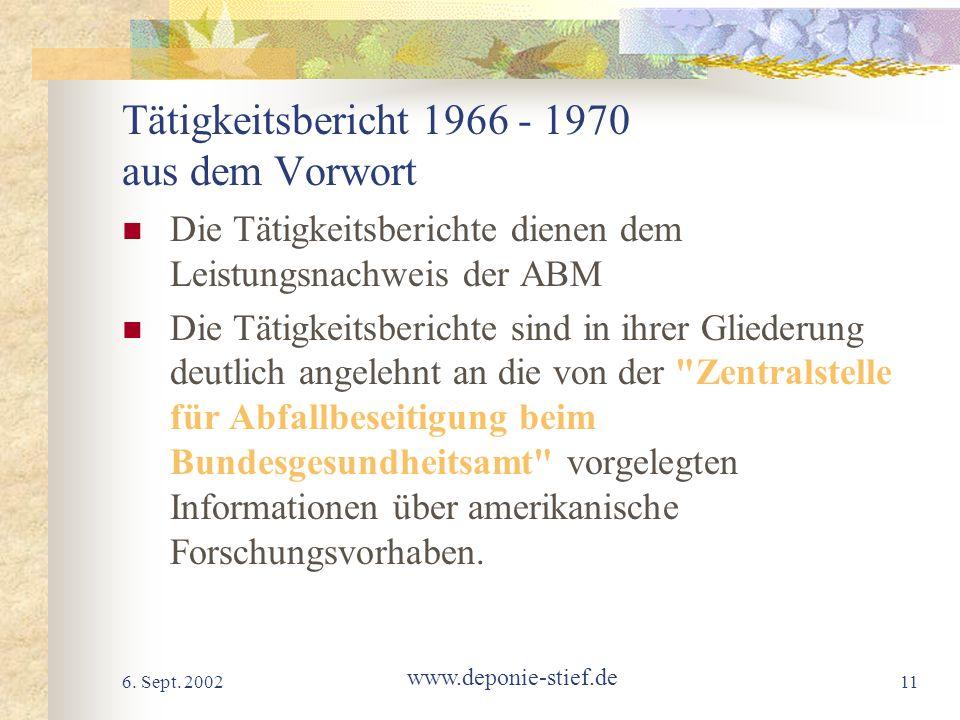 Tätigkeitsbericht 1966 - 1970 aus dem Vorwort