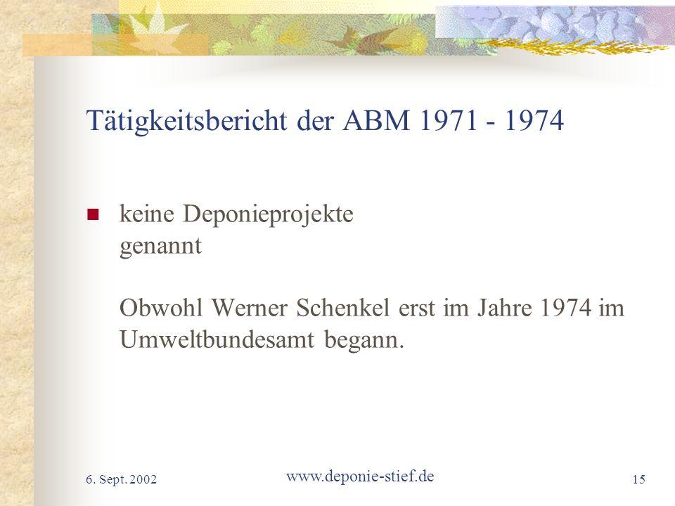 Tätigkeitsbericht der ABM 1971 - 1974