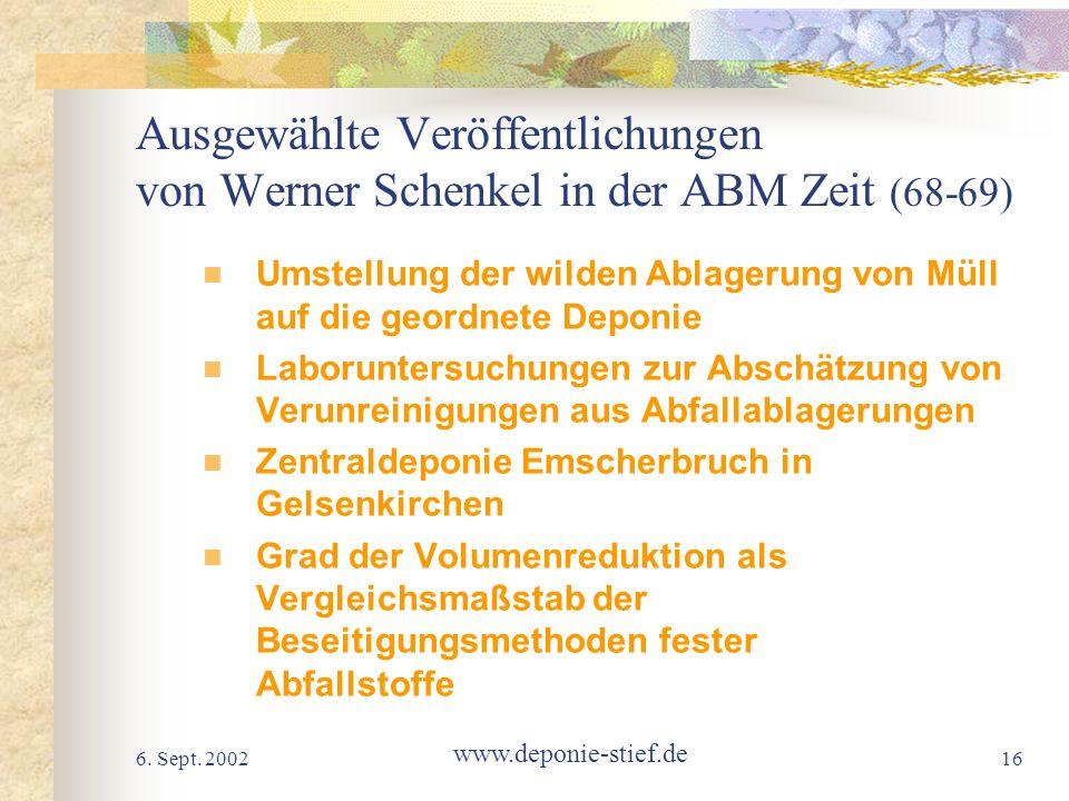 Ausgewählte Veröffentlichungen von Werner Schenkel in der ABM Zeit (68-69)