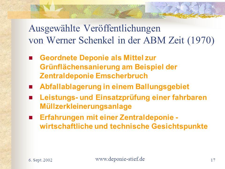 Ausgewählte Veröffentlichungen von Werner Schenkel in der ABM Zeit (1970)