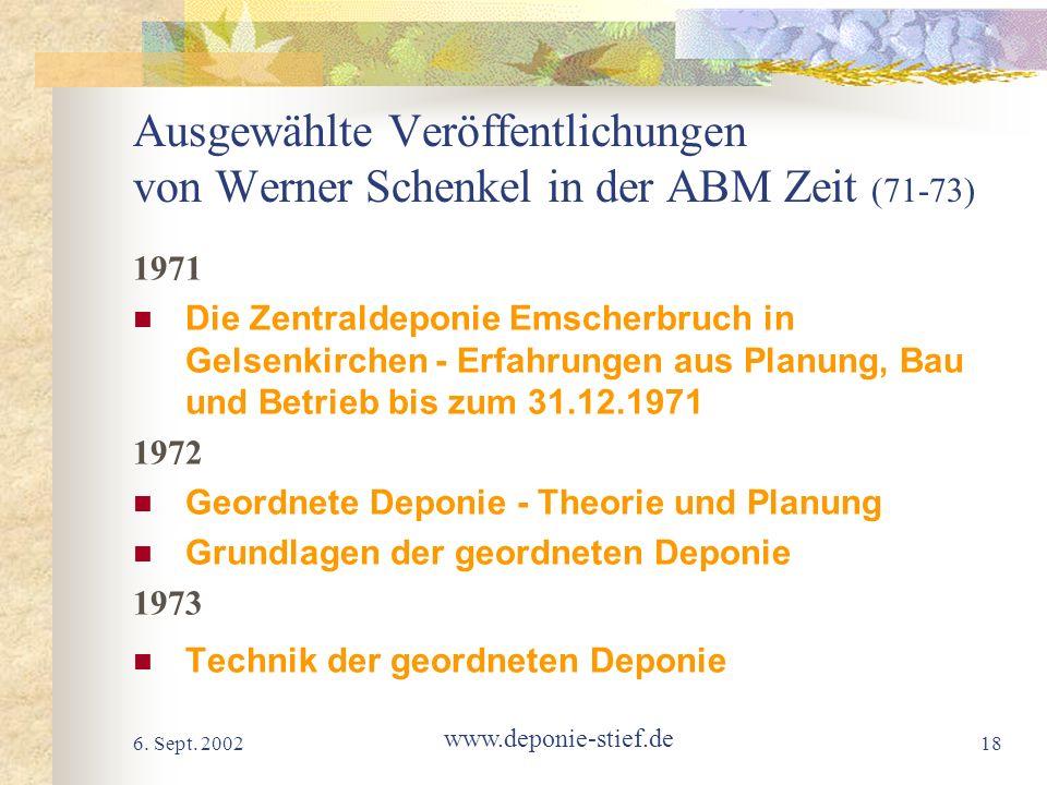 Ausgewählte Veröffentlichungen von Werner Schenkel in der ABM Zeit (71-73)