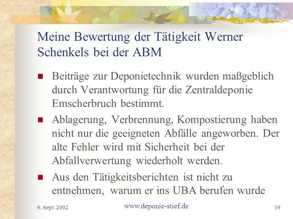 Meine Bewertung der Tätigkeit Werner Schenkels bei der ABM