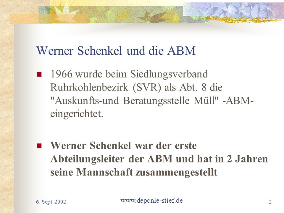 Werner Schenkel und die ABM