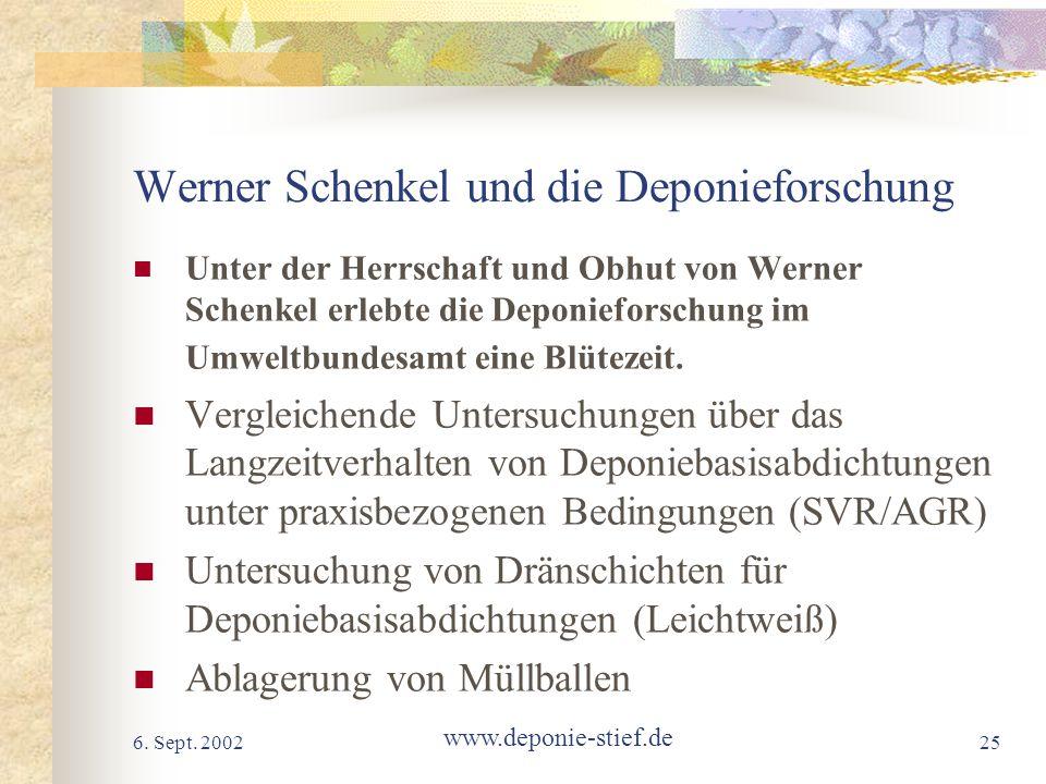 Werner Schenkel und die Deponieforschung