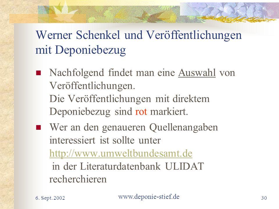 Werner Schenkel und Veröffentlichungen mit Deponiebezug