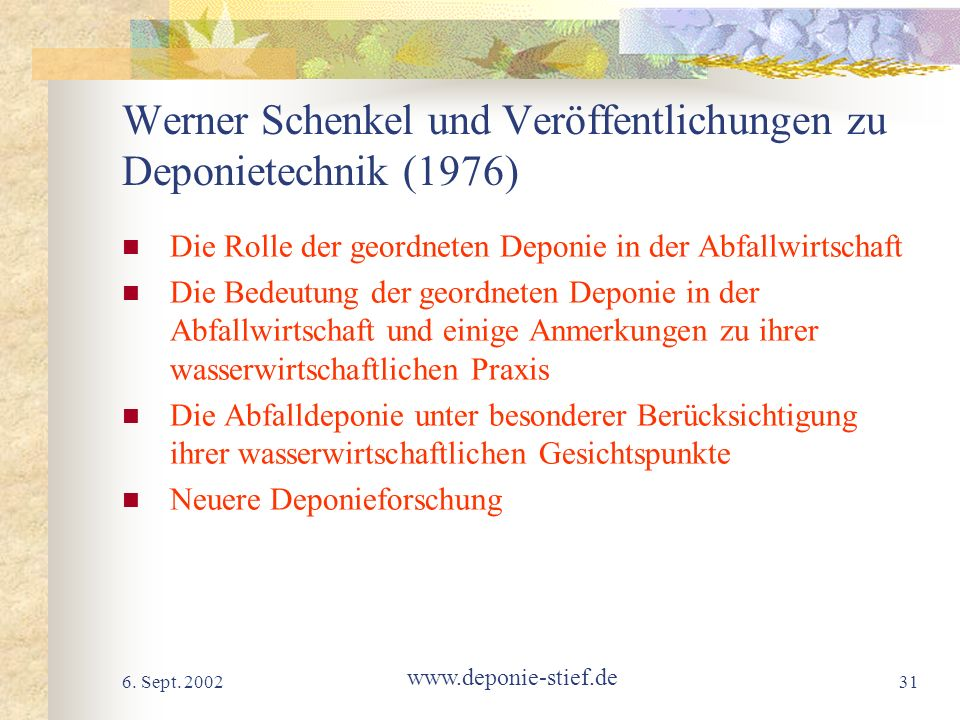Werner Schenkel und Veröffentlichungen zu Deponietechnik (1976)