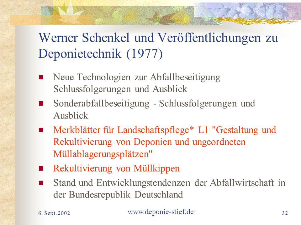 Werner Schenkel und Veröffentlichungen zu Deponietechnik (1977)