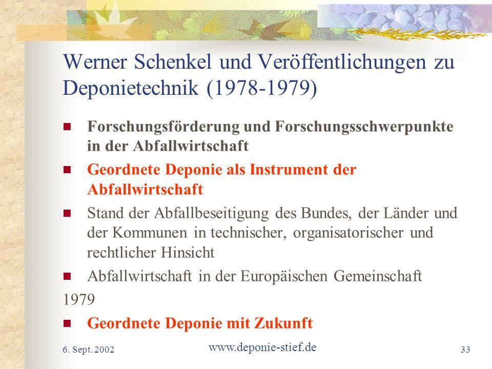 Werner Schenkel und Veröffentlichungen zu Deponietechnik (1978-1979)