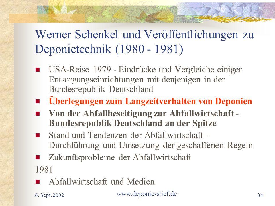 Werner Schenkel und Veröffentlichungen zu Deponietechnik (1980 - 1981)