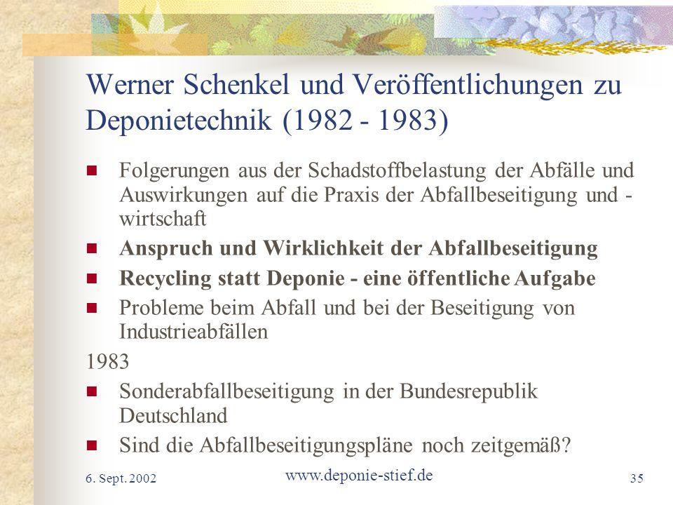 Werner Schenkel und Veröffentlichungen zu Deponietechnik (1982 - 1983)