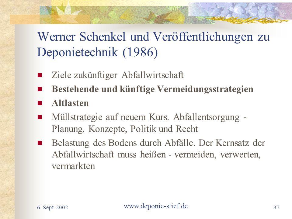 Werner Schenkel und Veröffentlichungen zu Deponietechnik (1986)