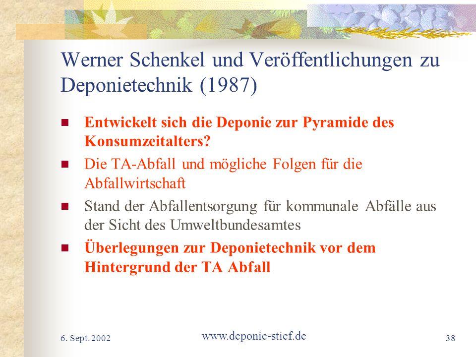 Werner Schenkel und Veröffentlichungen zu Deponietechnik (1987)