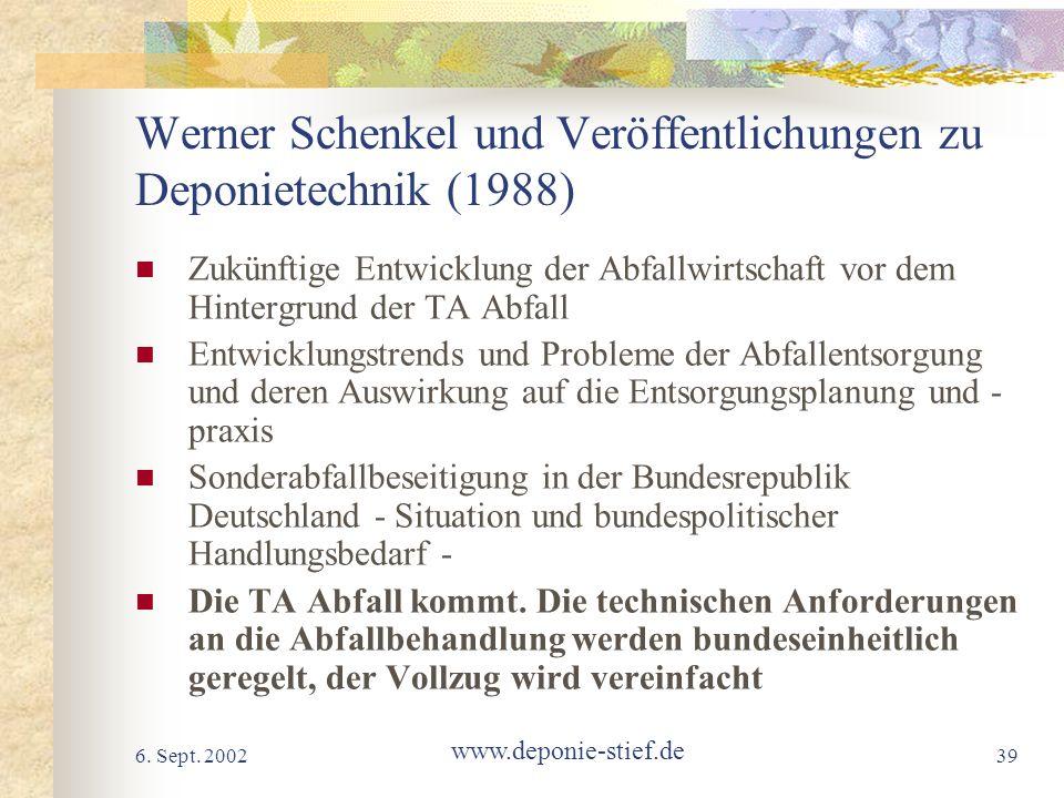 Werner Schenkel und Veröffentlichungen zu Deponietechnik (1988)