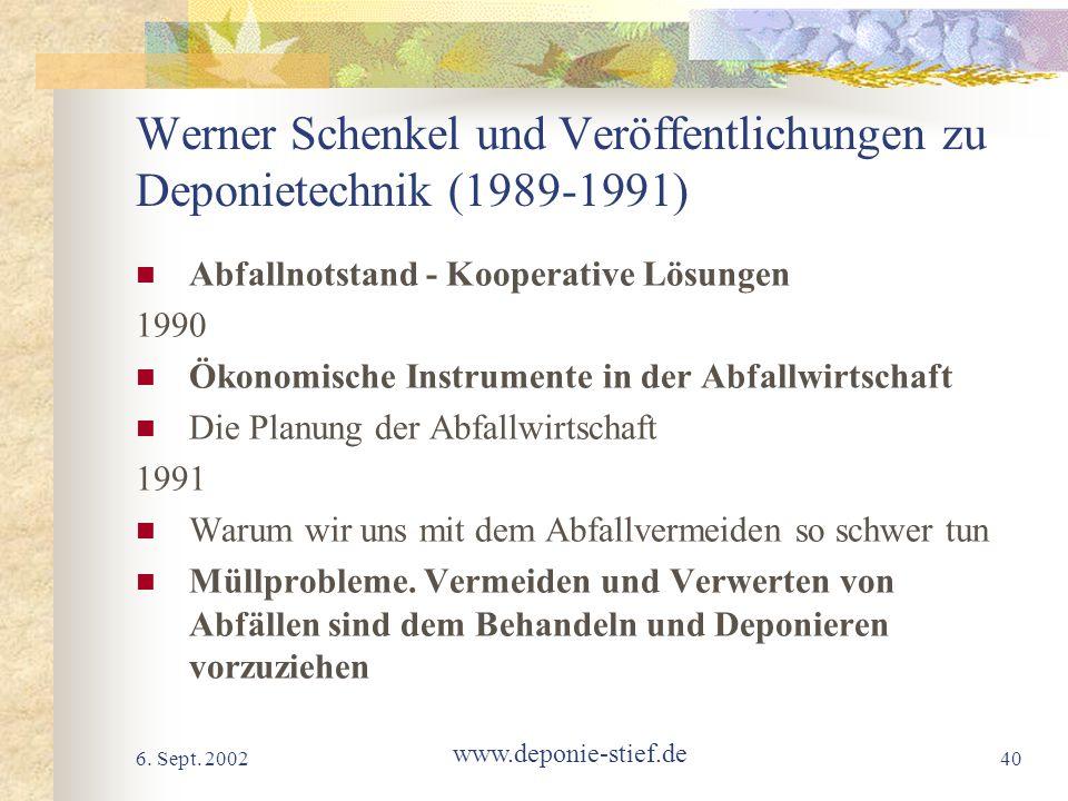 Werner Schenkel und Veröffentlichungen zu Deponietechnik (1989-1991)