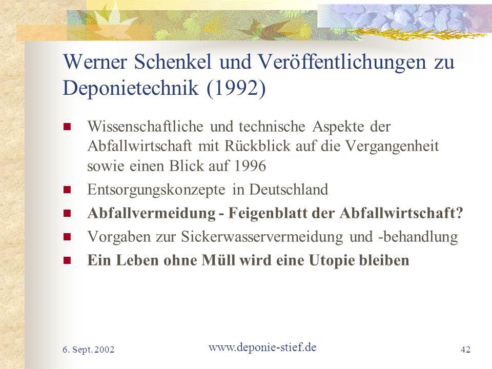 Werner Schenkel und Veröffentlichungen zu Deponietechnik (1992)