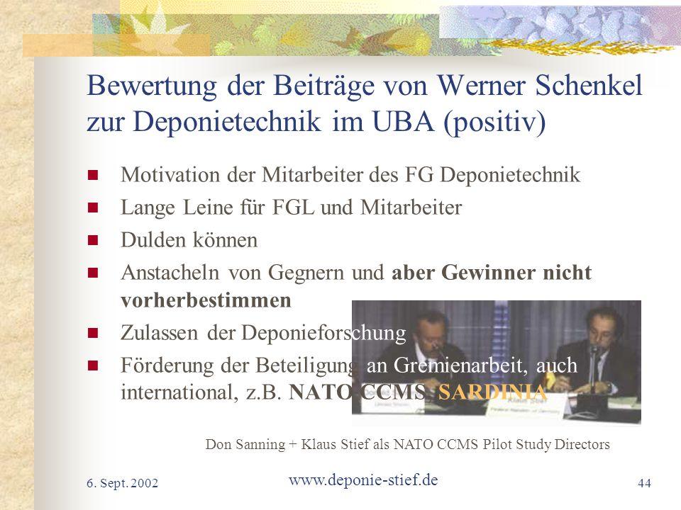 Bewertung der Beiträge von Werner Schenkel zur Deponietechnik im UBA (positiv)