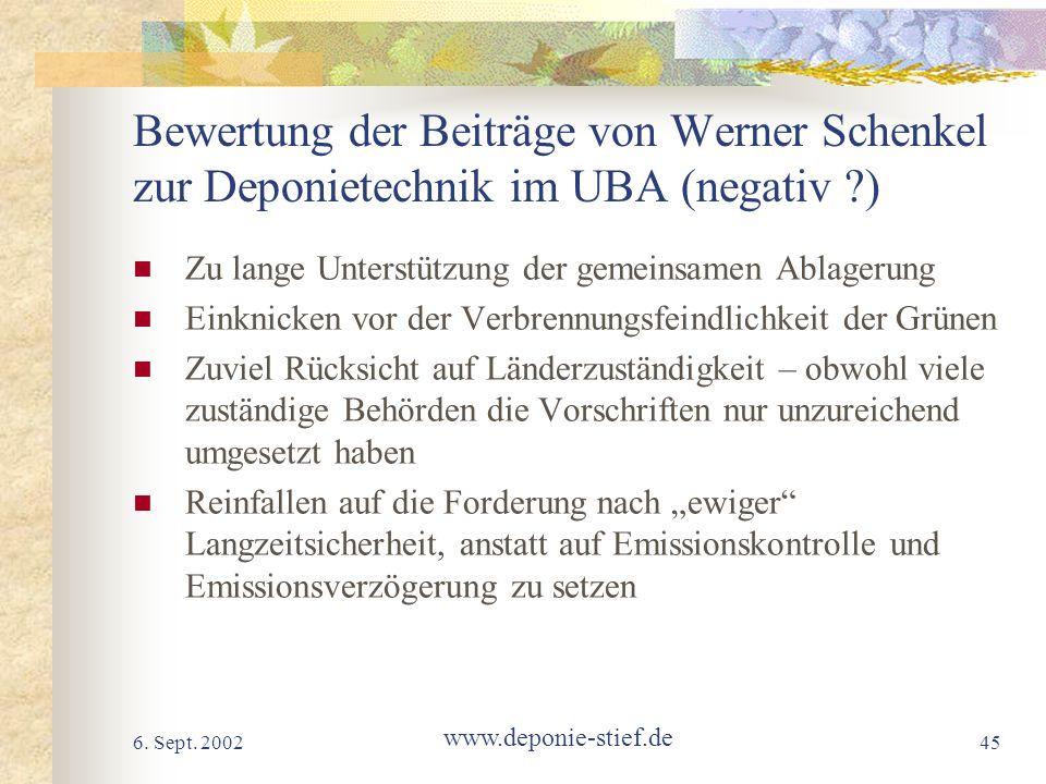 Bewertung der Beiträge von Werner Schenkel zur Deponietechnik im UBA (negativ )