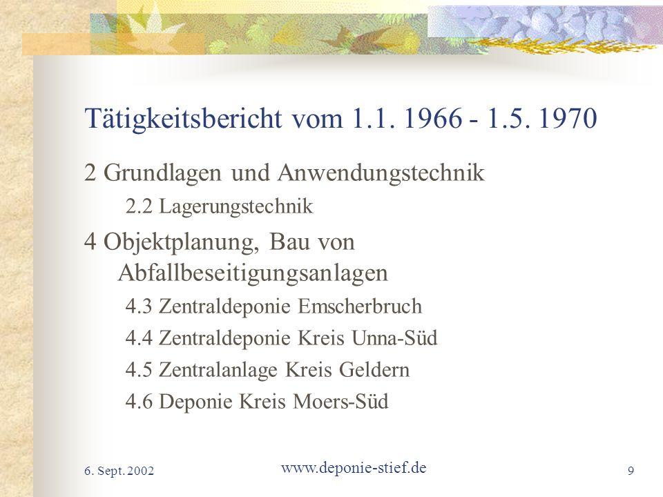 Tätigkeitsbericht vom 1.1. 1966 - 1.5. 1970