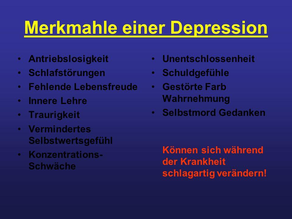 Merkmahle einer Depression