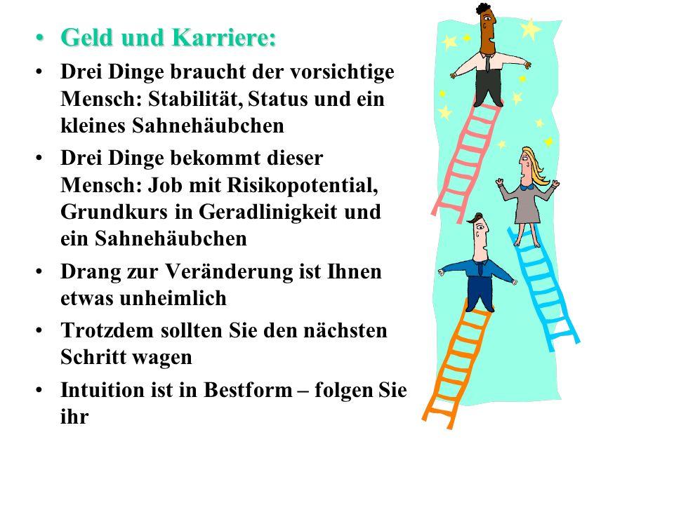 Geld und Karriere: Drei Dinge braucht der vorsichtige Mensch: Stabilität, Status und ein kleines Sahnehäubchen.