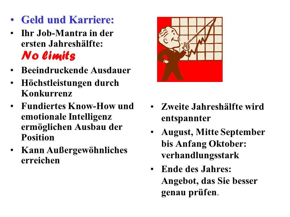 Geld und Karriere: Ihr Job-Mantra in der ersten Jahreshälfte: No limits. Beeindruckende Ausdauer. Höchstleistungen durch Konkurrenz.