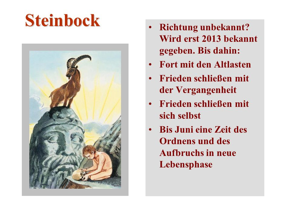 Steinbock Richtung unbekannt Wird erst 2013 bekannt gegeben. Bis dahin: Fort mit den Altlasten. Frieden schließen mit der Vergangenheit.