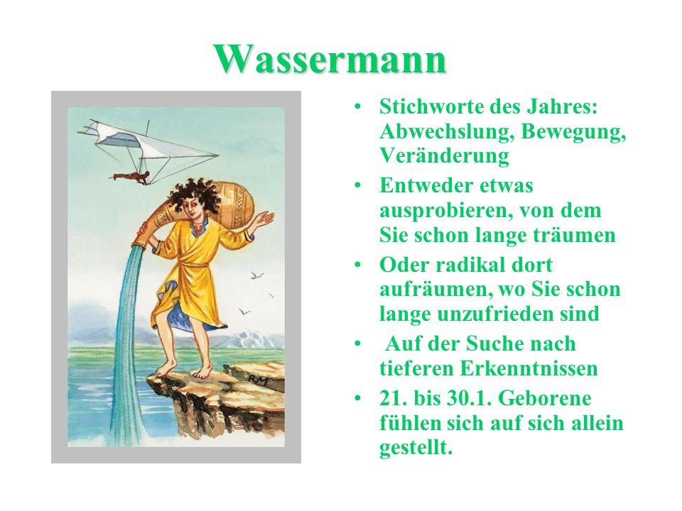 Wassermann Stichworte des Jahres: Abwechslung, Bewegung, Veränderung