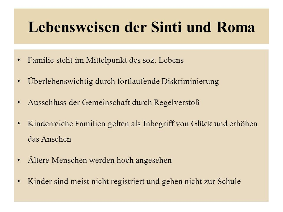 Lebensweisen der Sinti und Roma