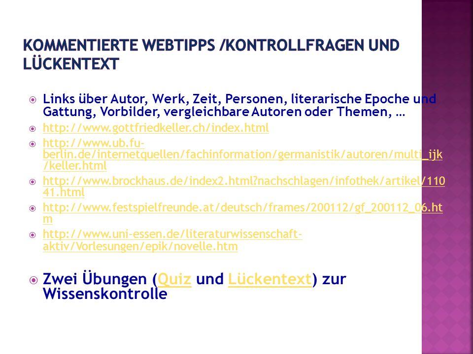 KOMMENTIERTE WEBTIPPS /KONTROLLFRAGEN UND LÜCKENTEXT