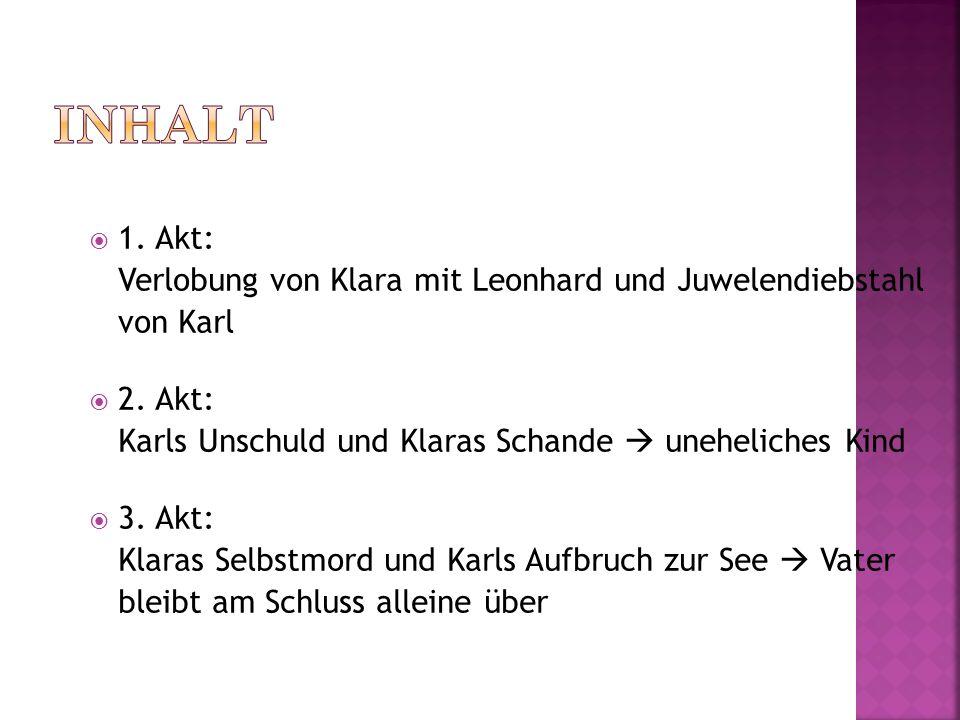 Inhalt 1. Akt: Verlobung von Klara mit Leonhard und Juwelendiebstahl von Karl.