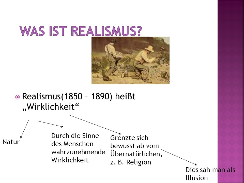 """Was ist Realismus Realismus(1850 – 1890) heißt """"Wirklichkeit"""