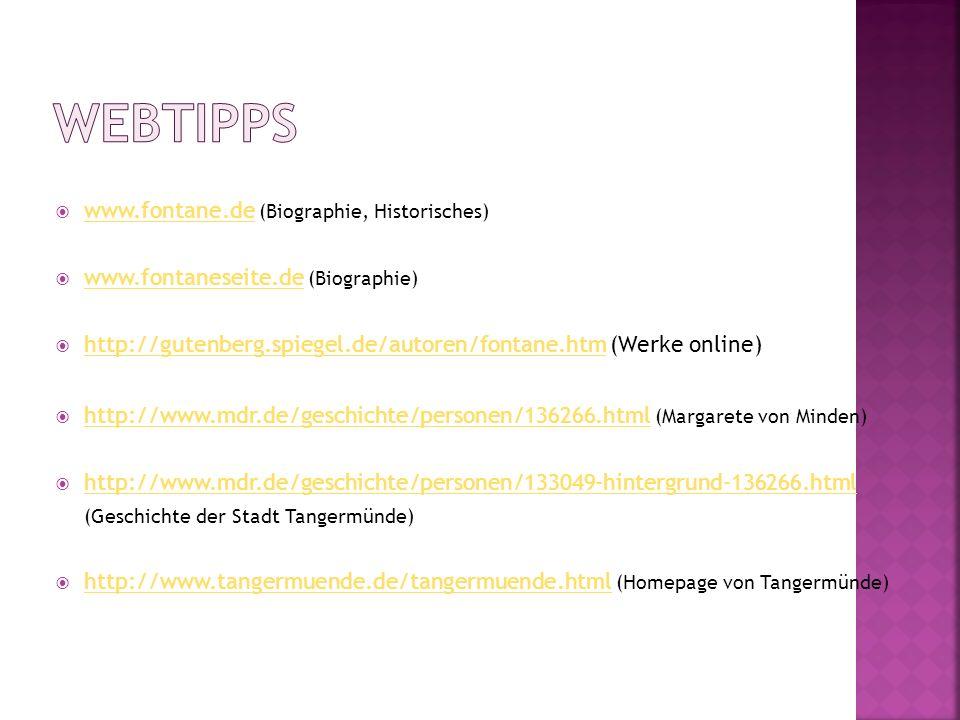 Webtipps www.fontane.de (Biographie, Historisches)