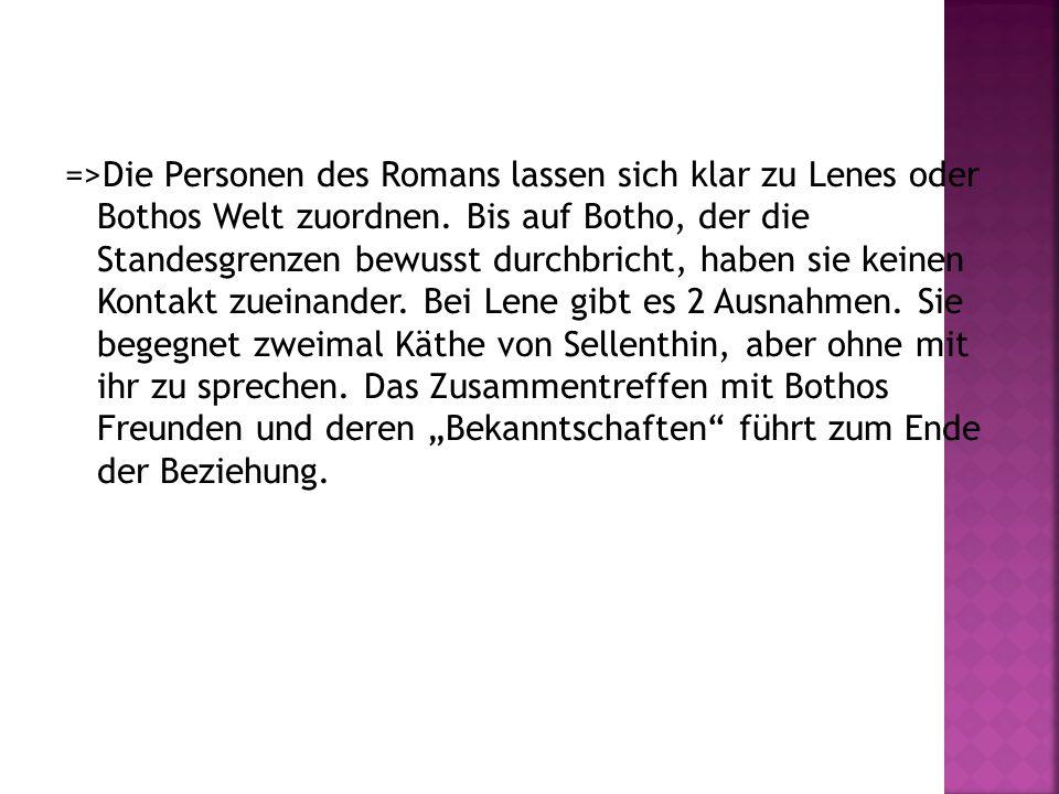 =>Die Personen des Romans lassen sich klar zu Lenes oder Bothos Welt zuordnen.
