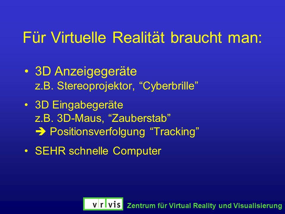 Für Virtuelle Realität braucht man: