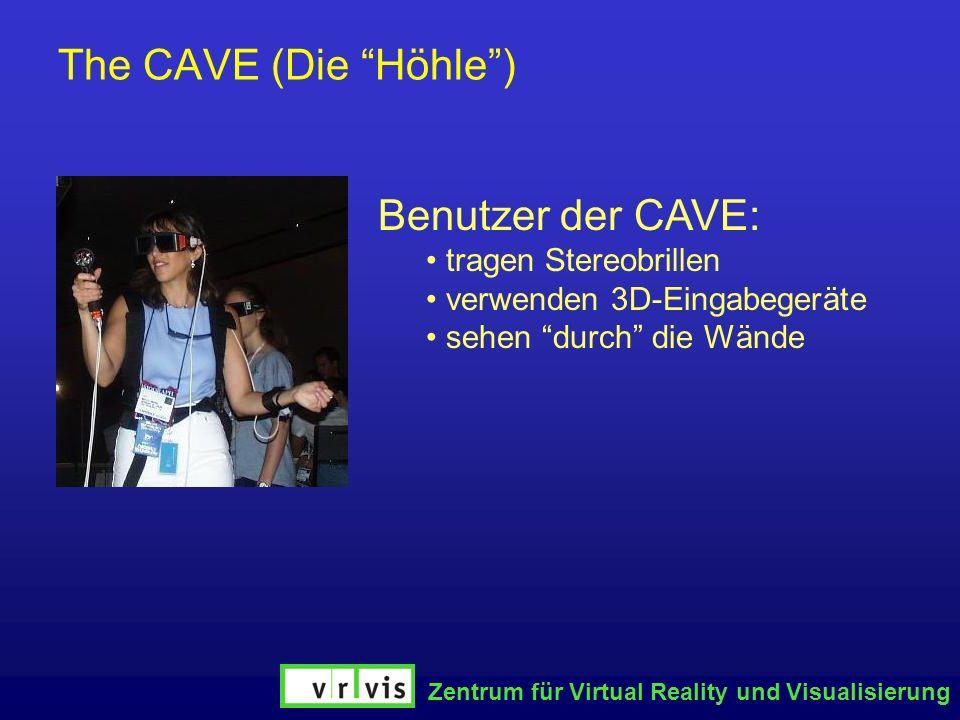 The CAVE (Die Höhle ) Benutzer der CAVE: tragen Stereobrillen