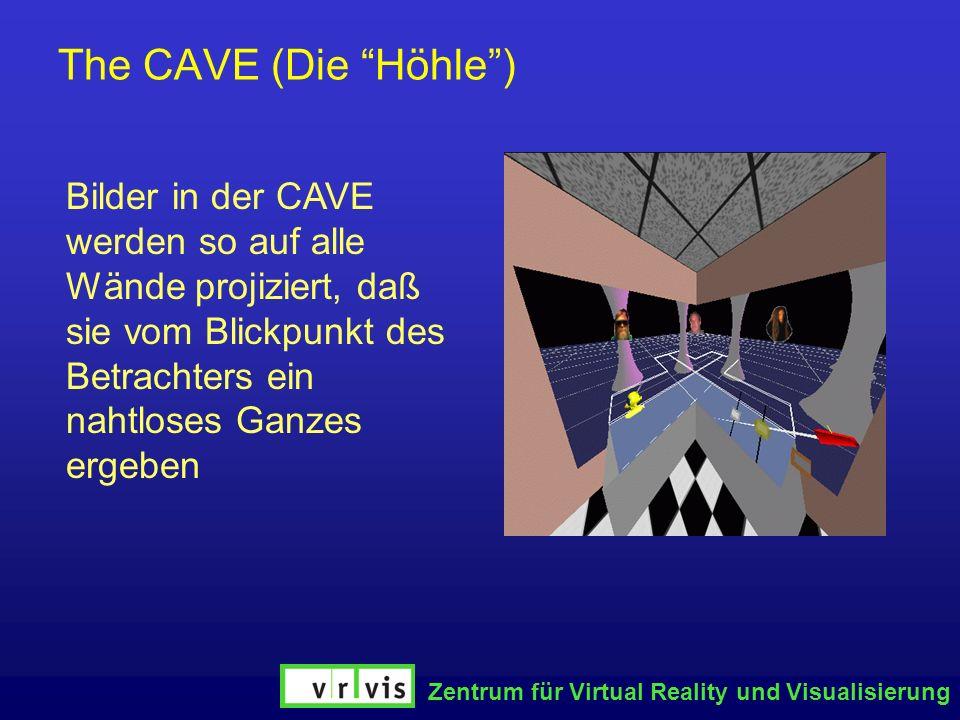 The CAVE (Die Höhle )Bilder in der CAVE werden so auf alle Wände projiziert, daß sie vom Blickpunkt des Betrachters ein nahtloses Ganzes ergeben.