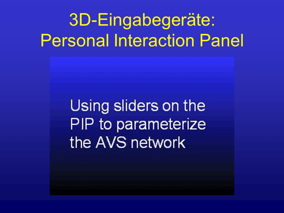3D-Eingabegeräte: Personal Interaction Panel