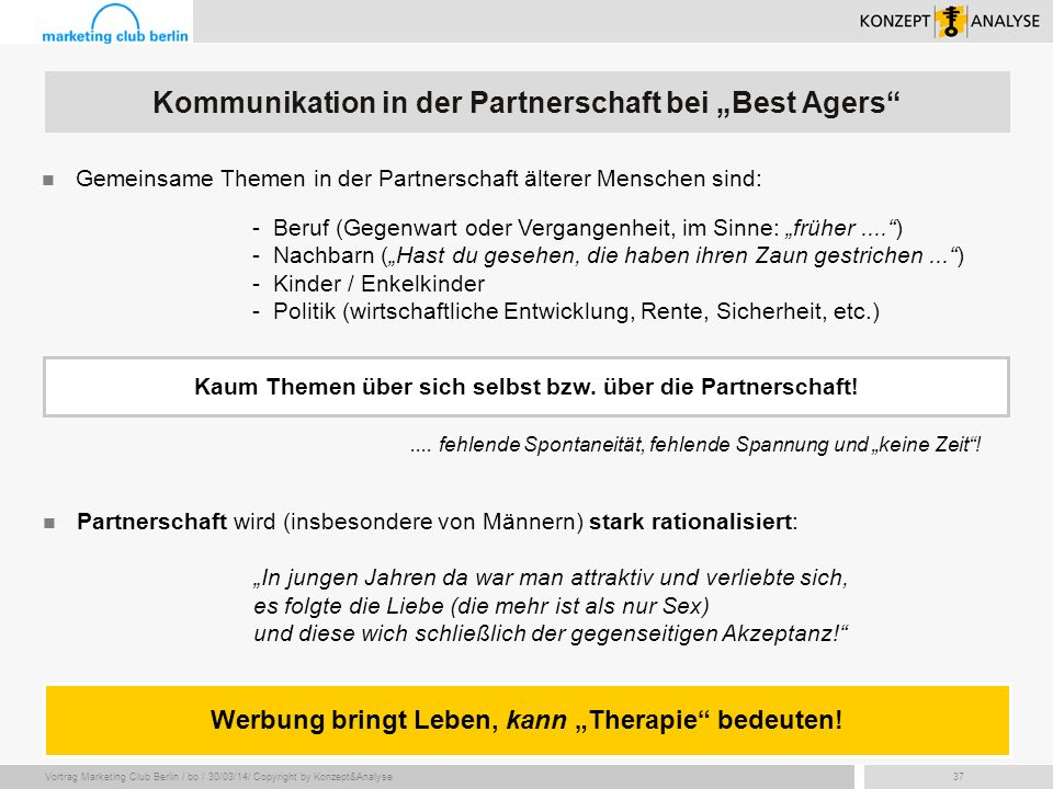 "Kommunikation in der Partnerschaft bei ""Best Agers"