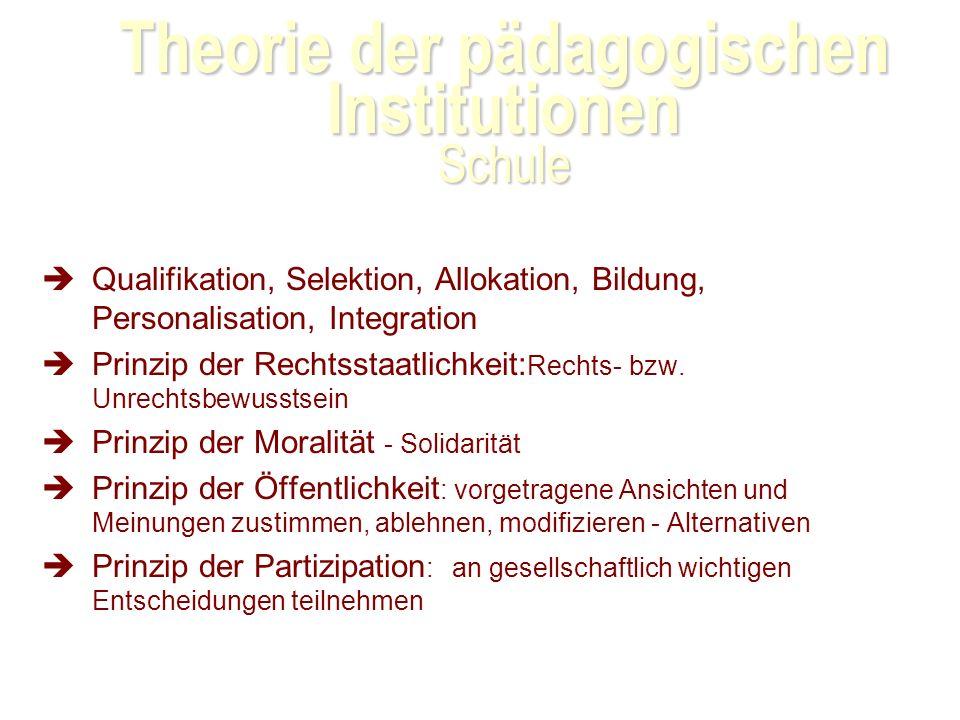 Theorie der pädagogischen Institutionen Schule