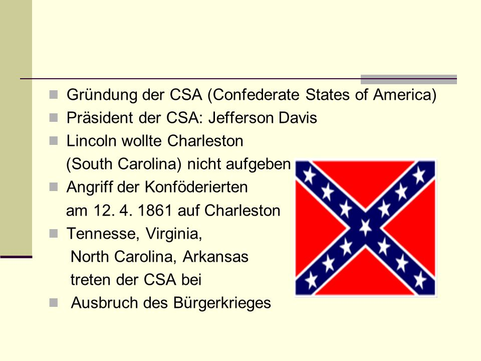 Gründung der CSA (Confederate States of America)