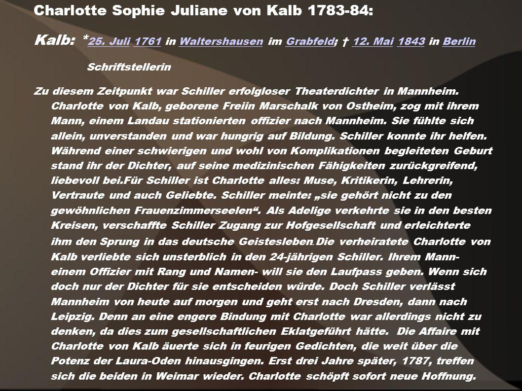 Charlotte Sophie Juliane von Kalb 1783-84: