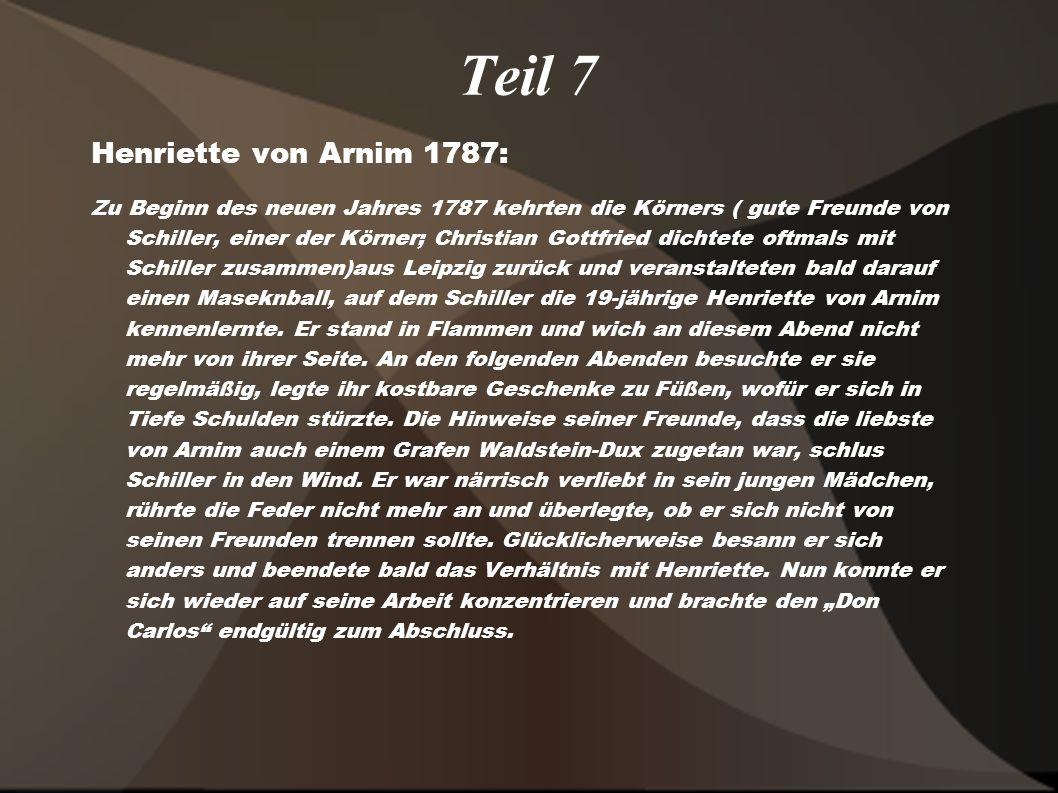 Teil 7 Henriette von Arnim 1787:
